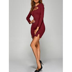 Long Sleeve Cutout Bodycon Slit Dress