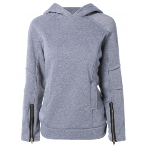 Solid Color Zip Embellished Patchwork Pullover Hoodie