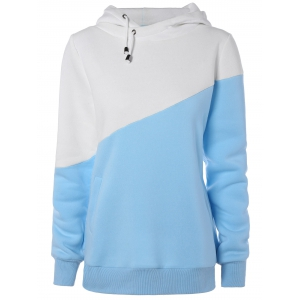Hit Color String Pullover Hoodie