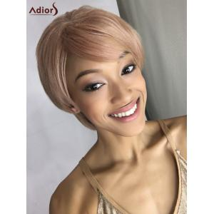 Short Double Color Fluffy Side Bang Straight Synthetic Capless Wig - Colormix