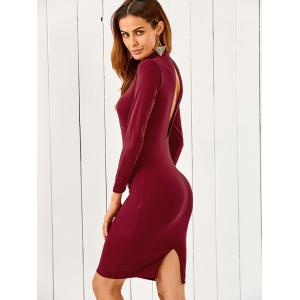 Mock Neck Long Sleeve Back Cutout Bodycon Pencil Dress - Wine Red - S