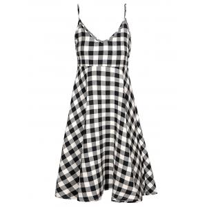 Plunging Neck Checked Cami Dress