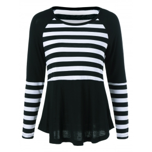 Raglan Sleeve Striped Trim T-Shirt