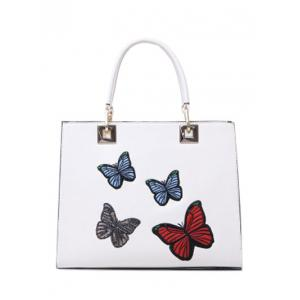Metal Butterfly Pattern Embroidery Tote Bag - White