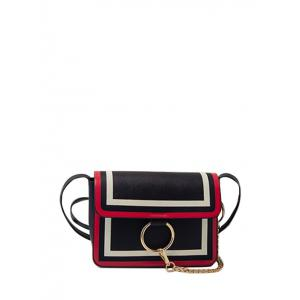 Chain Metal Ring Colour Splicing Crossbody Bag