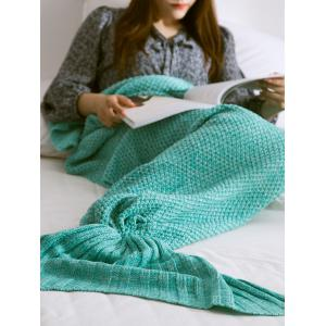 Warmth Comfortable Sofa Knitted Mermaid Tail Blanket - Mint Green - L