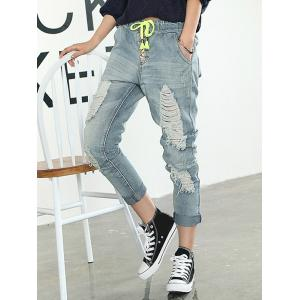 Frayed Broken Hole Drawstring Jeans -