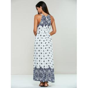 Long Ethnic Print Maxi Halter Sleeveless Dress -