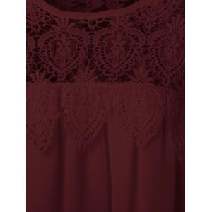 Lace Panel Chiffon Tunic Summer Dress - DARK RED 2XL