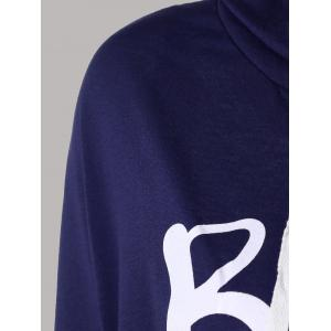 Letter Print Snow Pattern Plus Size Hoodie - DEEP BLUE XL