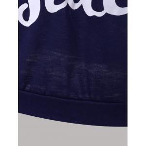 Letter Print Snow Pattern Plus Size Hoodie - DEEP BLUE 3XL