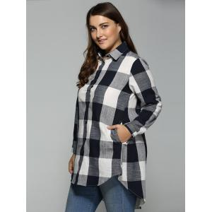High Low Plus Size Long Plaid Boyfriend Shirt -