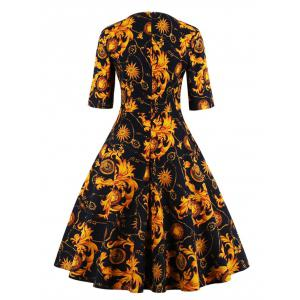 Print Fit and Flare Dress - YELLOW 4XL