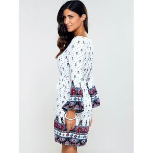 Drawstring Flare Sleeve Print Dress -