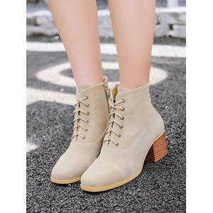 Square Toe Suede Chunky Heel Boots -