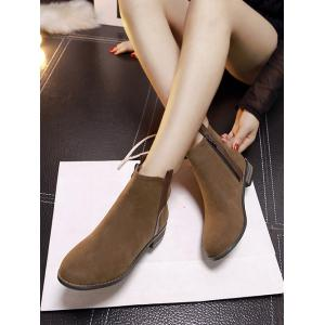 Suede Rounde Toe Short Boots - BROWN 39