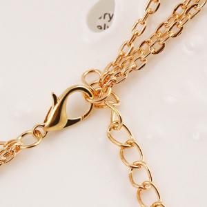 Alloy Rhinestone Pendant Layered Necklace - GOLDEN
