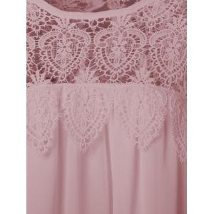 Lace Panel Chiffon Tunic Summer Dress - PINKBEIGE 4XL