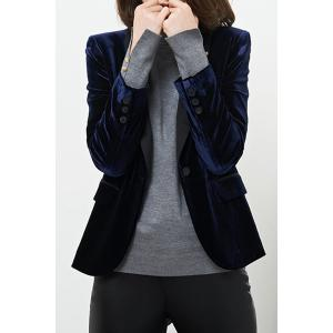 Shawl Collar Work Velvet Blazer - Deep Blue - L