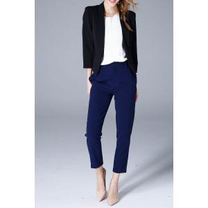 Shawl Collar Cropped Blazer - BLACK L