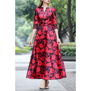 Three Quarter Sleeve Print Maxi Dress