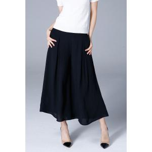 Pleated Cropped Pants - Black - Xl