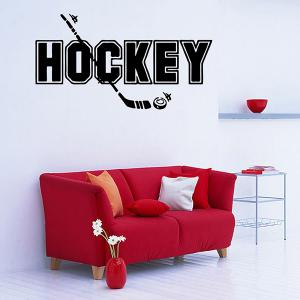 Removable Waterproof HOCKEY Word Sports Wall Decals For Bedrooms - BLACK