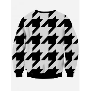 Long Sleeve Houndstooth Crew Neck Black and White Sweatshirt - WHITE/BLACK XL