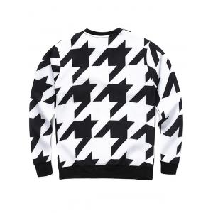 Crew Neck 3D Houndstooth and Letter Print Long Sleeve Sweatshirt - COLORMIX XL