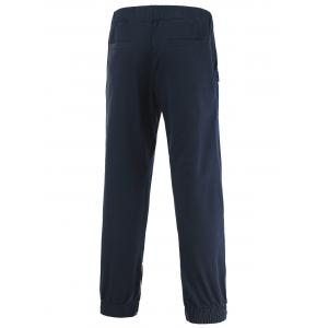 Plastic Buckle Design Elastic Waist Pocket Jogger Pants -