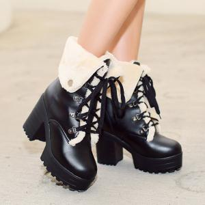 Platform Tie Up Metal Short Boots -