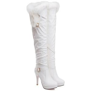 Platform Double Buckle Faux Fur Thigh Boots -