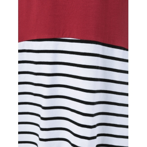 Striped Spliced High Low Hem Dress -