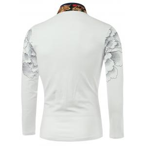 Flower Print Spliced Stand Collar Long Sleeve T-Shirt -