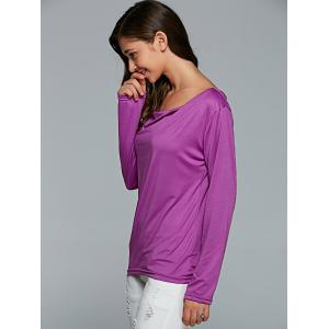 Cut Out Casual T-Shirt With Strapless Crop Top - PURPLE XL