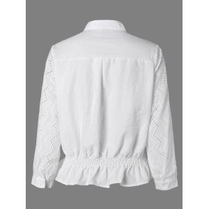 Long Sleeve Flounced Openwork Shirt -