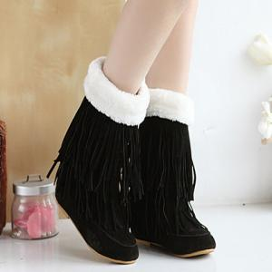 Hidden Wedge Fringe Suede Boots - BLACK 39