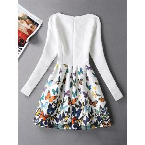 Butterfly Print Skater Dress with Sleeves - WHITE XL