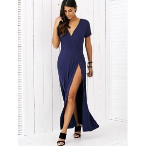 High Slit Surplice Maxi Dress -
