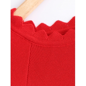 Knit Wave Cut Flare Sleeves T-Shirt -