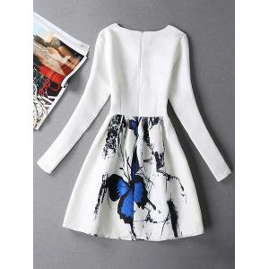 Vintage Butterfly Print Fit and Flare Dress With Sleeves - WHITE XL