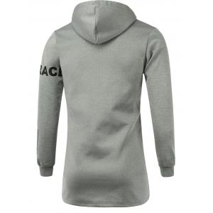 Letter Print Hooded Long Sleeve Zip-Up Hoodie -