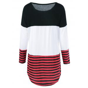 One Pocket Striped High Low T-Shirt - BLACK AND WHITE AND RED XL