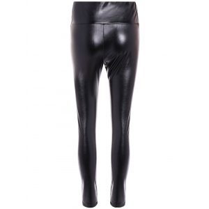 High Waist PU Leather Fleece Leggings -