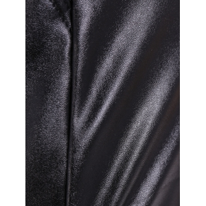 Elastic Waist PU Leather Fleece Leggings -