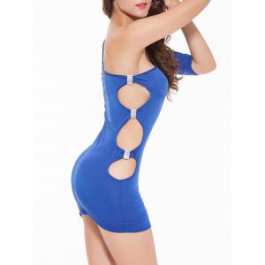 Cut Out One-Shoulder Short Bodycon Dress -