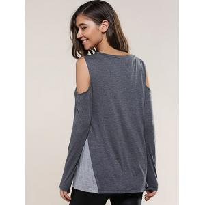 Cold Shoulder Spliced Blouse -