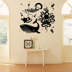 Removable Waterproof Cartoon Sea World Wall Stickers - BLACK