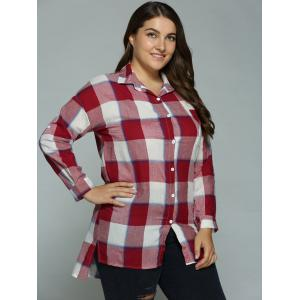 Plus Size High-Low Checked Long Shirt -