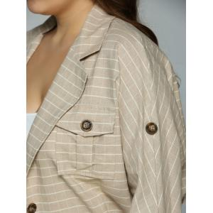 Buttoned Checked Pockets Jacket - APRICOT 4XL